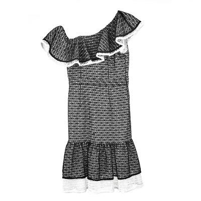 one shoulder lace frill detail dress black and white